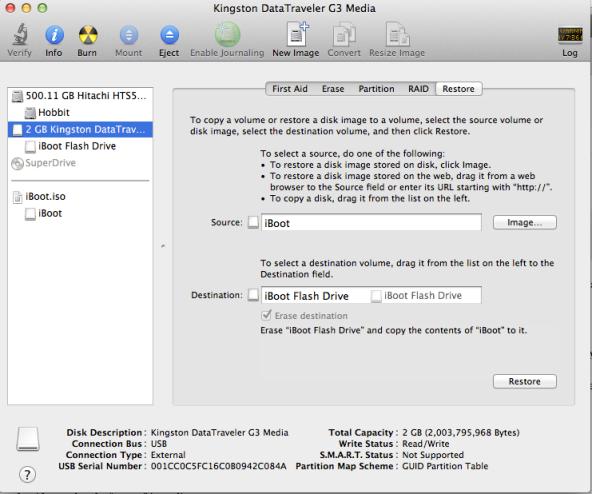 Preping iBoot onto Flash Drive